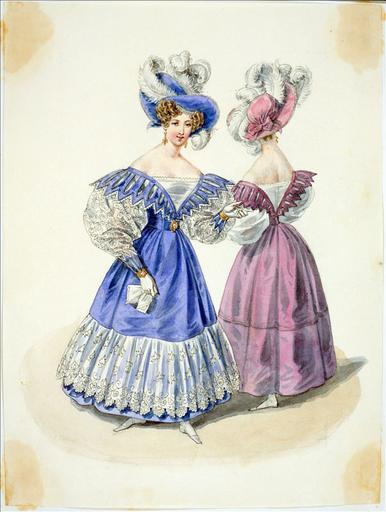 Elément d'un album de 77 aquarelles pour le Journal des Dames et des Modes, 1831-1832. Dessin pour le Journal des Dames et des Modes, n°3, 15 janvier 1832 - Planche 21 : Chapeau orné de perles et de plumes. Robe à schall