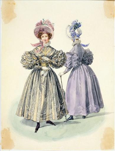 Elément d'un album de 77 aquarelles pour le Journal des Dames et des Modes, 1831-1832. Dessin pour le Journal des Dames et des Modes, 1832 - Planche 23 : Robe de moire à rayures_0