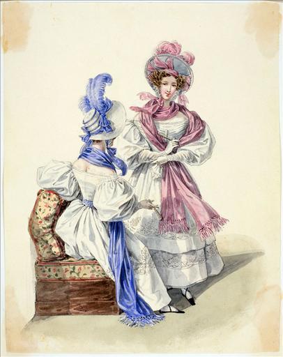 Elément d'un album de 77 aquarelles pour le Journal des Dames et des Modes, 1831-1832. Dessin pour le Journal des Dames et des Modes, n°50, 10 septembre 1832 - Planche 24 : Chapeau de paille de riz. Robe de mousseline ornée de remplis et broderies. Echarpe de gaze_0