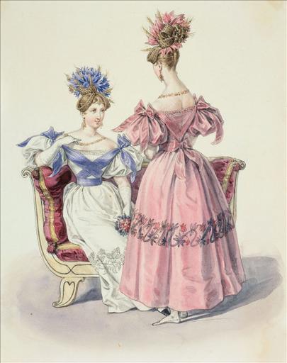 Elément d'un album de 77 aquarelles pour le Journal des Dames et des Modes, 1831-1832. Dessin pour le Journal des Dames et des Modes n°54, 30 septembre 1831, n°2923 - Planche 25 : Robes ornées de broderies et d'une ceinture de ruban en sautoir_0