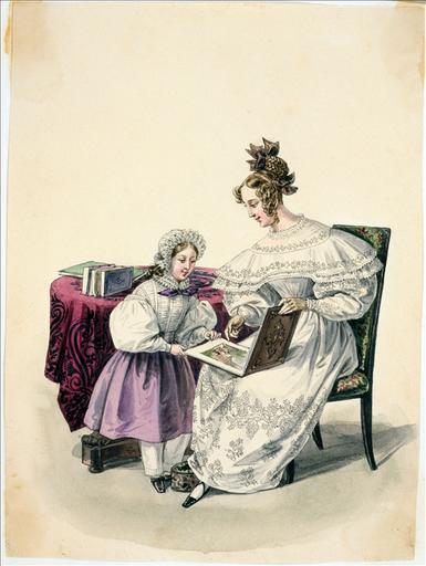 Elément d'un album de 77 aquarelles pour le Journal des Dames et des Modes, 1831-1832. Dessin pour le Journal des Dames et des Modes, n°36, 10 octobre 1832 - Planche 26 : Coiffure ornée de rubans en fil d'Ecosse. Robe de mousseline brodée
