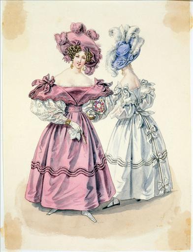 Elément d'un album de 77 aquarelles pour le Journal des Dames et des Modes, 1831-1832. Dessin pour le Journal des Dames et des Modes, n°12, 29 février 1832 - Planche 27 : Chapeau de gaze. Robe de gaze en tablier garnie de rouleaux de satin et de noeuds