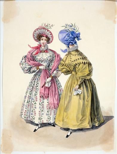 Elément d'un album de 77 aquarelles pour le Journal des Dames et des Modes, 1831-1832. Dessin pour le Journal des Dames et des Modes, n°51, 15 septembre 1832 - Planche 28 : Chapeau de gaze. Robe de chaly et robe de gros de Naples_0