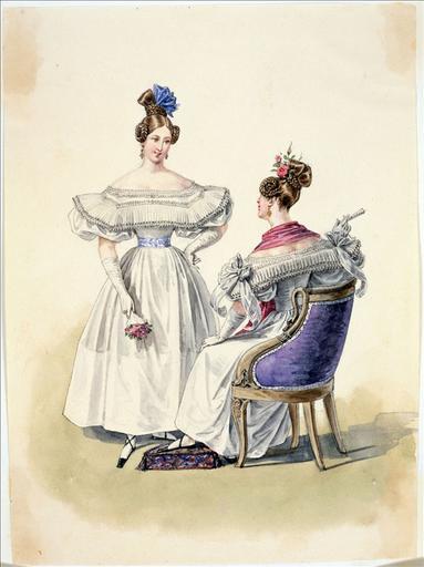 Elément d'un album de 77 aquarelles pour le Journal des Dames et des Modes, 1831-1832. Dessin pour le Journal des Dames et des Modes, n°47, 25 août 1832 - Planche 31 : Robe de mousseline blanche_0