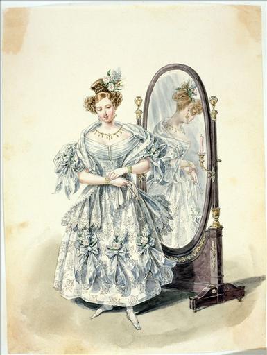 Elément d'un album de 77 aquarelles pour le Journal des Dames et des Modes, 1831-1832. Dessin pour le Journal des Dames et des Modes, n°39, 1832 - Planche 32 : Robe de mousseline de soie brodée en soie plate et écharpe de blonde