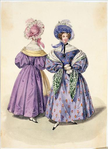 Elément d'un album de 77 aquarelles pour le Journal des Dames et des Modes, 1831-1832. Dessin pour le Journal des Dames et des Modes, n°61, 5 novembre 1832 - Planche 37 : Chapeau de satin à raies. Robe de mousseline de laine. Guimpe plissée et brodée_0