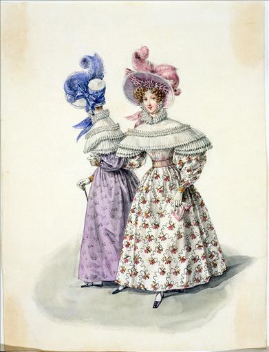 Elément d'un album de 77 aquarelles pour le Journal des Dames et des Modes, 1831-1832. Dessin pour le Journal des Dames et des Modes, n°49, 5 septembre 1831 - Planche 39 :Chapeau de paille de riz à forme de gros de Naples et orné de plumes. Robe de mousseline de laine. Canezou en mousseline_0