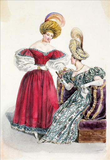 Elément d'un album de 77 aquarelles pour le Journal des Dames et des Modes, 1831-1832. Dessin pour le Journal des Dames et des Modes n°14, 10 mars 1832, n°2966 - Planche 41 : Turban en gaze d'or. Robe de cachemire_0