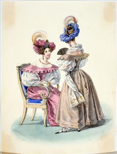 Elément d'un album de 77 aquarelles pour le Journal des Dames et des Modes, 1831-1832. Dessin pour le Journal des Dames et des Modes, n°20, 10 avril 1832 - Planche 42 : Turban de gaze orné d'un oiseau de paradis. Robe de moire_0