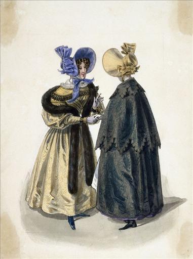 Elément d'un album de 77 aquarelles pour le Journal des Dames et des Modes, 1831-1832. Dessin de 77 aquarelles pour le Journal des Dames et des Modes, 1831-1832. Dessin pour le Journal des Dames et des Modes, n°66, 30 novembre 1831 - Planche 47 : Chapeaux de satin à noeud de cravate. Robe de moire. Manteau de velours d'Ispahan_0