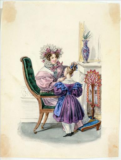 Elément d'un album de 77 aquarelles pour le Journal des Dames et des Modes, 1831-1832. Dessin pour le Journal des Dames et des Modes, n°68, 10 décembre 1831 - Planche 5 : Femme assise sur un fauteuil Voltaire, portant une robe de ville rose, un col et un bonnet de lingerie. Fillette en robe violette et tablier à bretelles en jockey, en gros de Naples, pantalons blancs_0