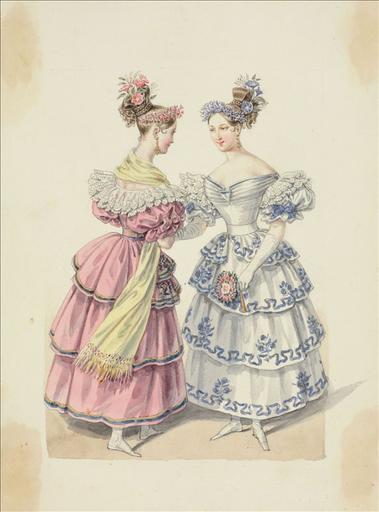 Elément d'un album de 77 aquarelles pour le Journal des Dames et des Modes, 1831-1832. Dessin pour le Journal des Dames et des Modes, n°67, 5 décembre 1831- Planche 50 : Robe à fagnion en tulle brodé et lamé