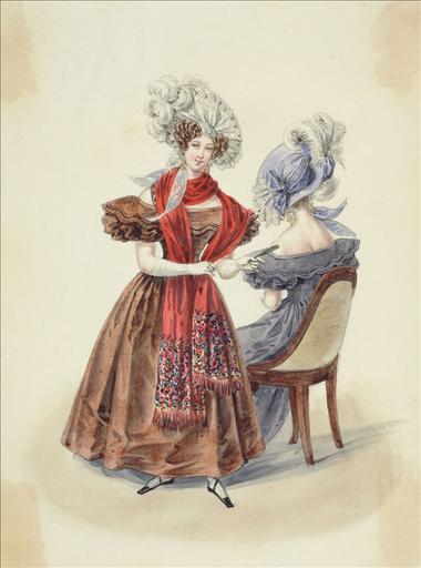 Elément d'un album de 77 aquarelles pour le Journal des Dames et des Modes, 1831-1832. Dessin pour le Journal des Dames et des Modes, n°58, 20 octobre 1831- Planche 51 : Chapeau de gaze. Robe de satin polonais_0