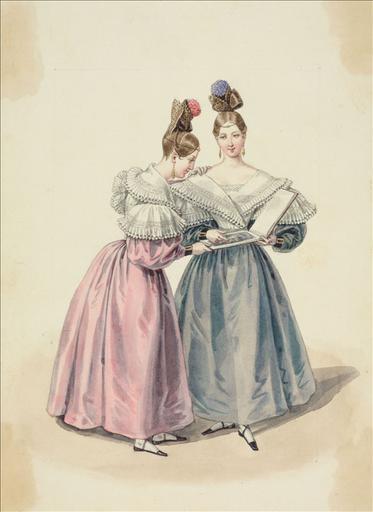 Elément d'un album de 77 aquarelles pour le Journal des Dames et des Modes, 1831-1832. Dessin pour le Journal des Dames et des Modes, n°57, 156 octobre 1831 - Planche 52 : Canezou à schall. Coiffure ornée d'une fleur pompon_0