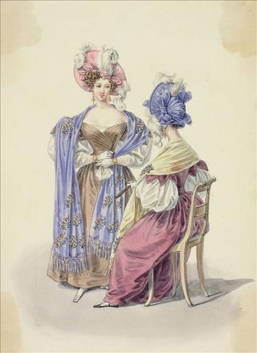 Elément d'un album de 77 aquarelles pour le Journal des Dames et des Modes, 1831-1832. Dessin pour le Journal des Dames et des Modes, 1831 - Planche 54 : Chapeaux à plumes et noeuds. Robes à plis. Echarpes_0
