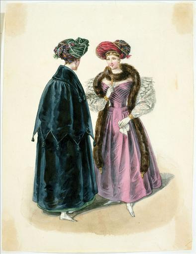 Elément d'un album de 77 aquarelles pour le Journal des Dames et des Modes, 1831-1832. Dessin pour le Journal des Dames et des Modes, n°69, 5 décembre 1831- Planche 6 : Turbans en cachemire. Robe à plis arrêtés sur les hanches, manteau_0