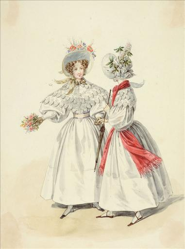 Elément d'un album de 77 aquarelles pour le Journal des Dames et des Modes, 1831-1832. Dessin pour le Journal des Dames et des Modes, n°37, 5 juillet 1832 - Planche 61 : Paille cousue ornée de fleurs des champs. Robes de jaconas_0