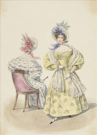 Elément d'un album de 77 aquarelles pour le Journal des Dames et des Modes, 1831-1832. Dessin pour le Journal des Dames et des Modes, n°52, 20 septembre 1832 - Planche 67 : Chapeaux de paille de riz ornés de pieds d'alouette. Robe de chaly brodé. Robe de moire imprimée, à pèlerine. Echarpe de blonde_0