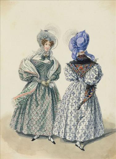 Elément d'un album de 77 aquarelles pour le Journal des Dames et des Modes, 1831-1832. Dessin pour le Journal des Dames et des Modes, n°41, 25 juillet 1832 - Planche 72 : Chapeau de crêpe orné dun esprit. Robe de mousseline de laine_0