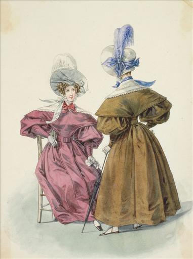 Elément d'un album de 77 aquarelles pour le Journal des Dames et des Modes, 1831-1832. Dessin pour le Journal des Dames et des Modes, n°27, 15 mai 1832 - Planche 75 : Chapeau de paille de riz orné d'une plume. Robe de chaly à pèlerine