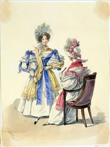 Elément d'un album de 77 aquarelles pour le Journal des Dames et des Modes, 1831-1832. Dessin pour le Journal des Dames et des Modes, n°43, 5 août 1832 - Planche 8 : Robes de mousseline brodée. Fichus-écharpes en rubans. Chapeaux de paille de riz_0
