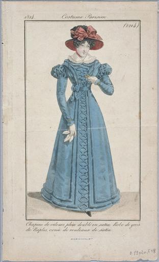 Journal des modes et des dames de 1824 : planche 2214 - Chapeau de velours plein doublé en satin, robe de gros de Naples ornée de rouleaux de satin_0