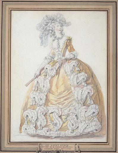 Dessin préparatoire pour la planche 360 du 1er cahier de grandes robes d'étiquette de la cour de France faisant suite aux costumes français, vers 1787, édités par J.Esnault et M.Rapilly : grande robe de cour