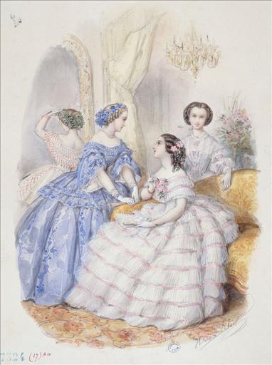 Planche préparatoire pour gravure de mode dans Le Bon Ton, 15 août 1857, planche 10. Quatre toilettes de bal : une robe blanche à huit rangs de volants plissés, une robe bleue à décolleté plissé, une robe de dos à décor de zigzags rouges, une robe à guimpe blanche ornée de noeuds_0