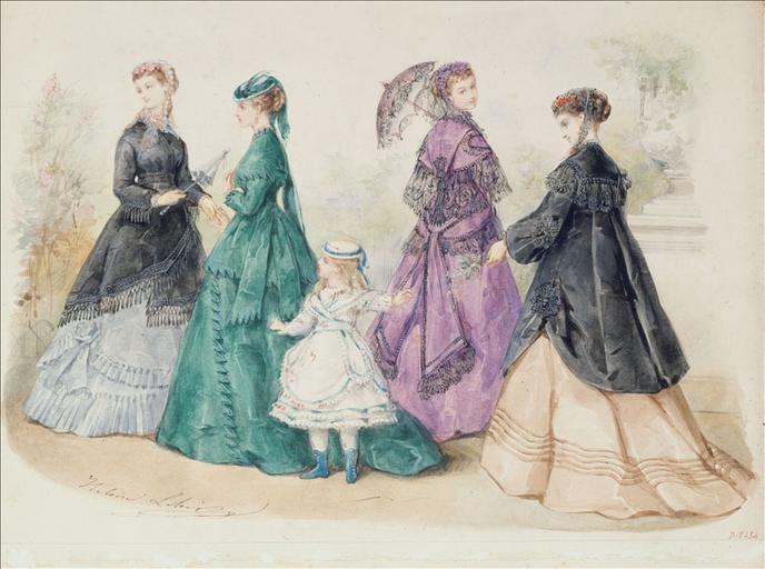 Ensembles de ville : quatre femmes et une fillette dans un parc_0
