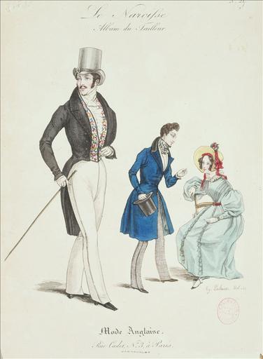 Le Narcisse - Album du tailleur. 1830, planche 21 : Mode anglaise, Rue Cadet, n°3_0