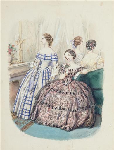 Planche préparatoire pour gravure de mode dans La France Elégante, 1er janvier 1855, n°5 : Toilettes de bal_0