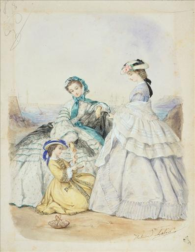 Planche préparatoire pour gravure de mode dans Le Bon Ton, 8 juillet 1861, planche 3 : Toilettes d'été pour femmes et fillettes_0