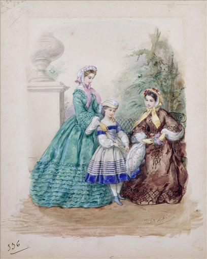Planche préparatoire pour gravure dans La Corbeille, 1er juin 1861. Toilettes de printemps : deux femmes et une fillette, dans un jardin_0
