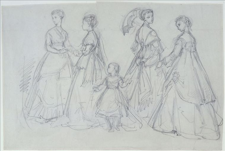 Ensembles de ville : quatre femmes et une fillette dans un parc ; Gouache sur carton_0