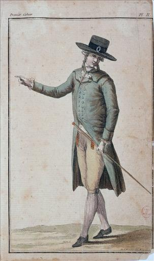 Cabinet des Modes, 15 novembre 1785, planche 2 du 1er cahier : Chapeau en jacquet_0