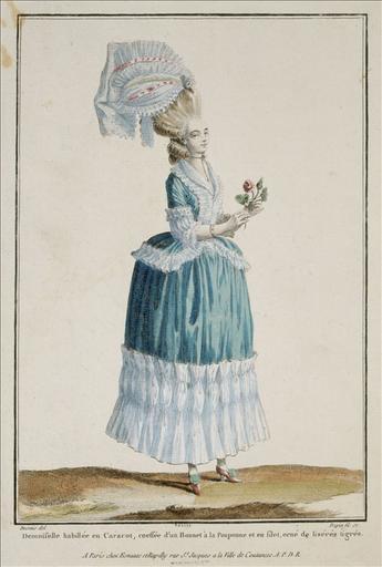 Galerie des Modes, 1778, planche K 59 : Demoiselle en caraco_0