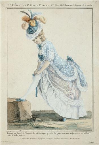 Galerie des Modes, 1776, planche G 37 : femme en robe à la polonaise, de taffetas rayé garnie de gaze, remettant sa jarretière et laissant voir sa belle jambe_0