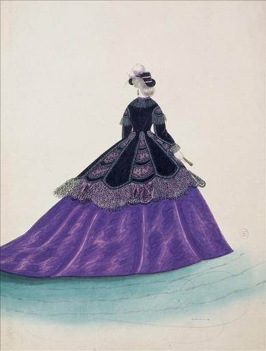 Figurine pour Madame Ghys, n°3900, vers 1865. Robe de ville, mantelet de velours noir à dentelle et franges_0