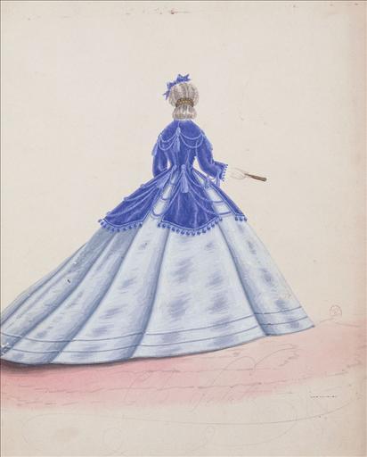 Figurine pour Madame Ghys, n°4006, vers 1865. Robe de ville, mantelet bleu à trois basques séparées et reliées par des cordelières, décor de passementerie_0