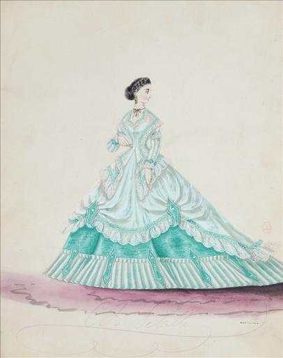 Figurine pour Madame Ghys, n°4524, vers 1866. Robe habillée , à veste ouverte, à deux basques en pointe, à jupe ornée d´un biais vert et de dentelle blanche