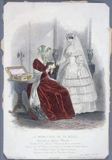Le Moniteur de la mode, 10 novembre 1846, planche 130 : Toilette de mariée_0