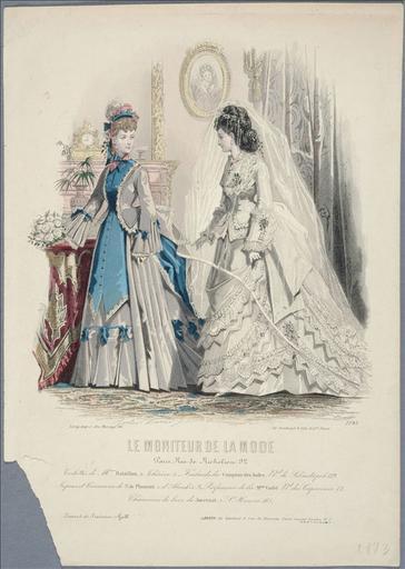 Le Moniteur de la mode, 1873, planche 1085: Toilettes de Mme Bataillon. Foulards du Comptoirs des Indes. (Toilette de mariée)_0