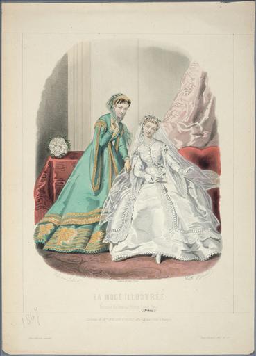 La Mode Illustrée, 1867, planche 39: Sans Titre. Toilette de mariée_0