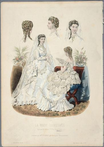 La Mode Illustrée, 1869, planche 23 : Robe de Mme Fladry, 27 Faubourg Poissonnière. Toilette de mariée_0