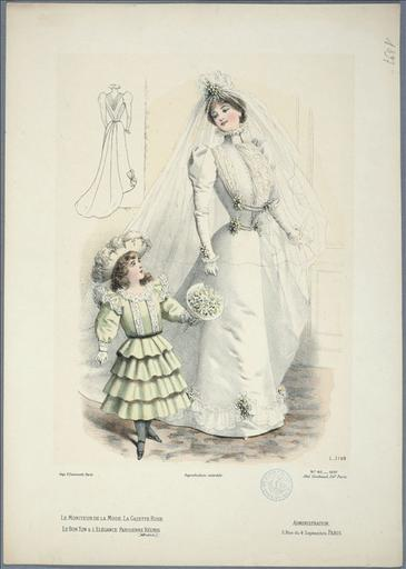 Le Moniteur de la mode, 1897, planche 40 : Sans Titre. Toilette de mariée