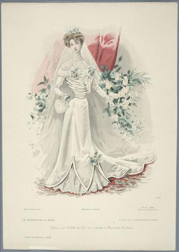 Le Moniteur de la mode, 1900, planche n°15. Sans titre. Toilette de mariée_0