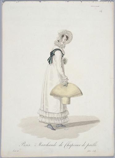Ouvrières de Paris : marchande chapeaux de paille (planche 14, vers 1823, Paris)_0