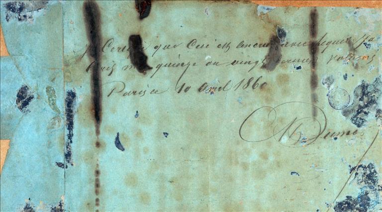 Autographe de la table aux encriers, avril 1860_0