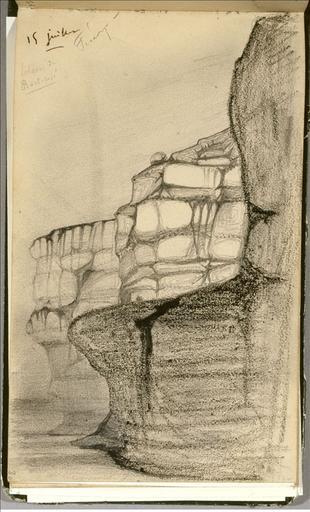Carnet de voyage 16 juin-19 juillet 1836 : falaise de Bois-Rosé, Fécamp (folio 30)_0