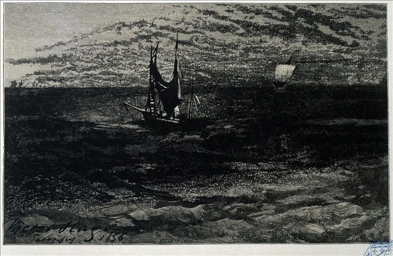 Album de gravures d'après les dessins de Victor Hugo pour les Travailleurs de la mer : La panse dans le vent (planche 9) - 1882_0